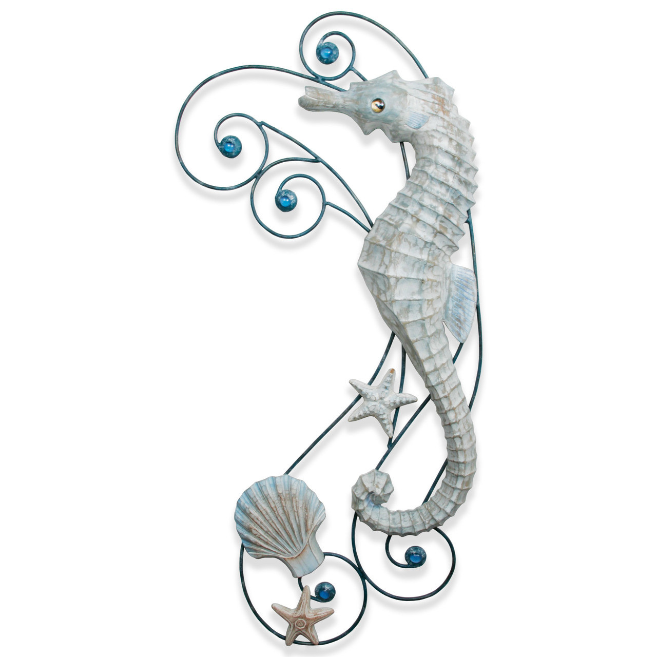 """(CW483) 35"""" """"Antique Seahorse Wave""""  Hand-Carved Wood and Metal Wall Sculpture - Graywash"""