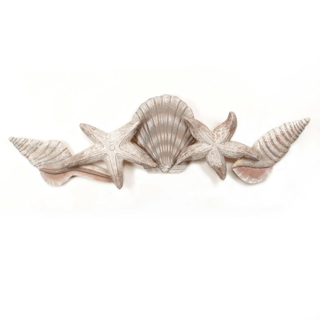 "(CW931) 35"" ""Shell Swag""  Wooden Wall Sculpture"