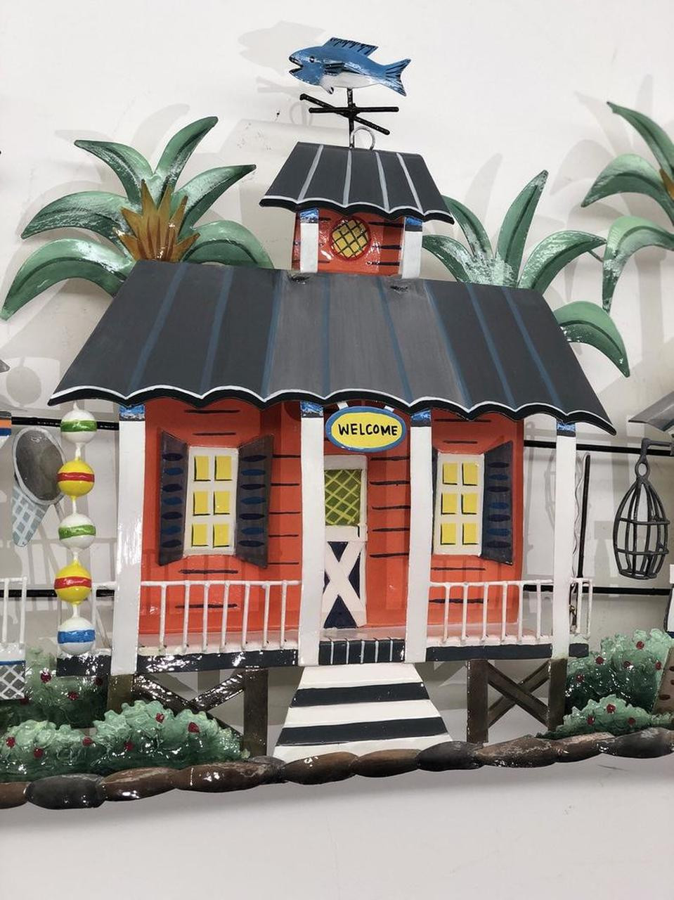 "(OS417) 54"" ""Caribbean Village""  Metal Wall Sculpture - Store Front"