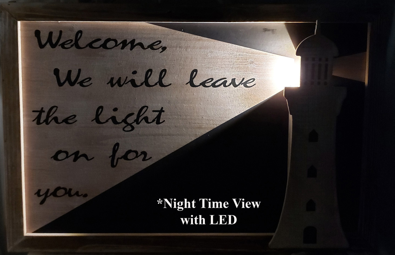 "(MP-2044) 3 Dimensional ""Welcome"" Lighthouse Wooden Wall Art with LED Back Lighting - Nighttime View"