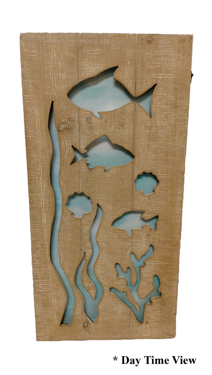 "(MP-2045) 3 Dimensional ""Underwater Sea Life"" Wooden Wall Art with LED Back Lighting - Daytime View"