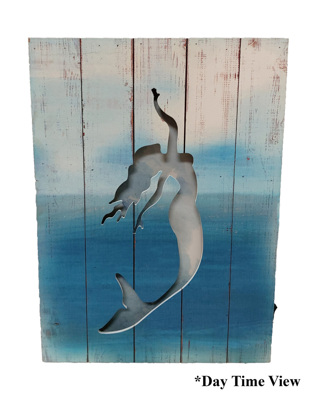 (MP-2046) 3 Dimensional Mermaid Wooden Wall Art with LED Back Lighting - Daytime View