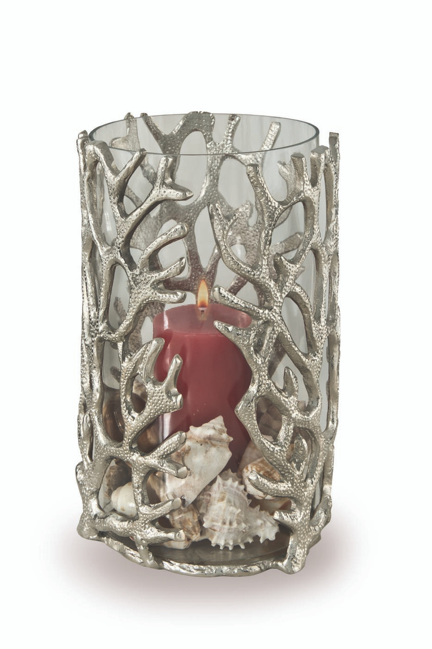 (41242) Large Aluminum Coral Hurricane Candle Holder with Polished Nickel Finish and Glass Insert
