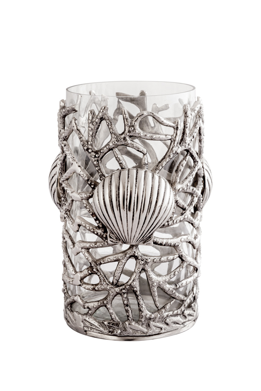 (42246) Aluminum Coral and Shells Hurricane Candle Holder with Polished Nickel Finish and Glass Insert