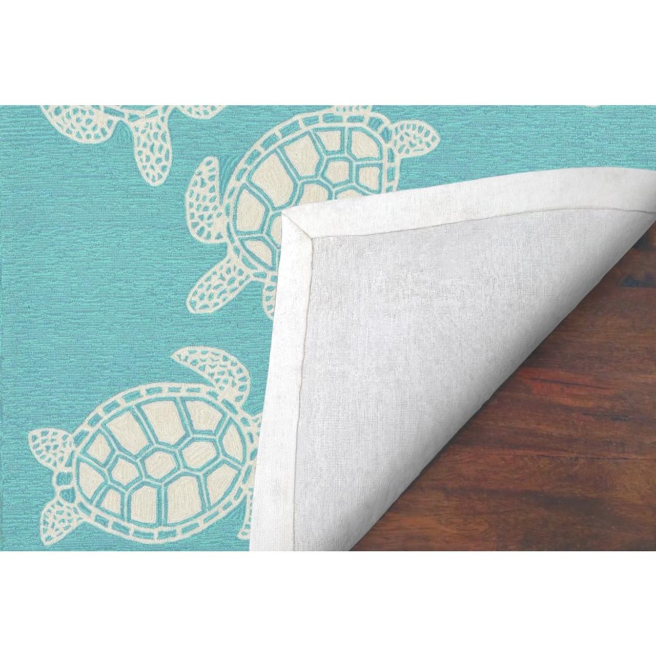 Capri Turtle Indoor/Outdoor Rug - Aqua - Backing