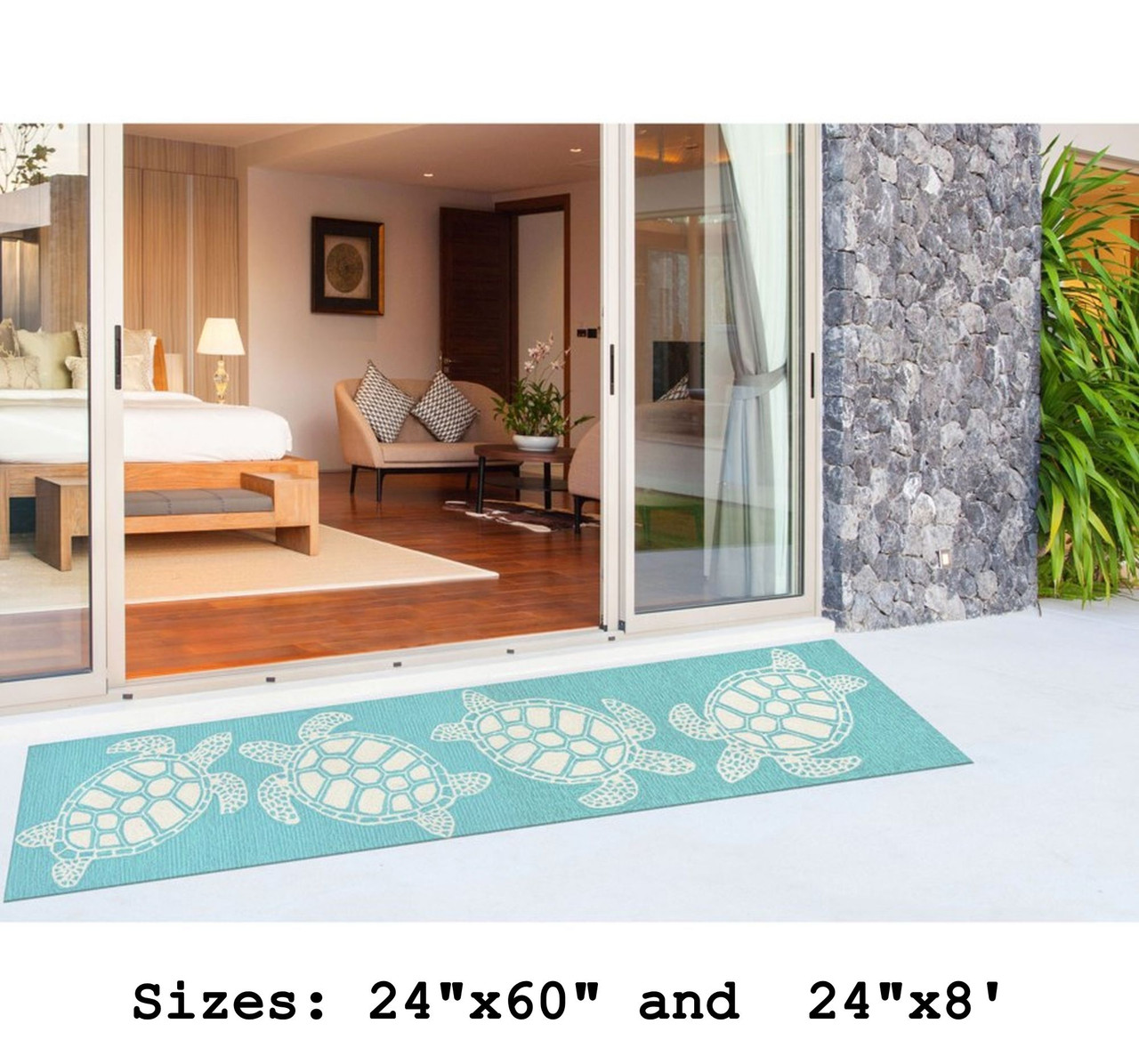 Capri Turtle Indoor/Outdoor Rug - Aqua - Large Runner Lifestyle Available in 6 Sizes