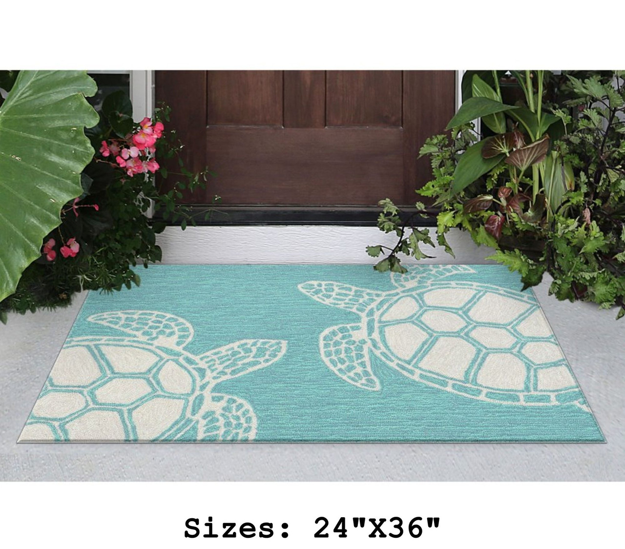 Capri Turtle Indoor/Outdoor Rug - Aqua - Small Rectangle Lifestyle Available in 6 Sizes