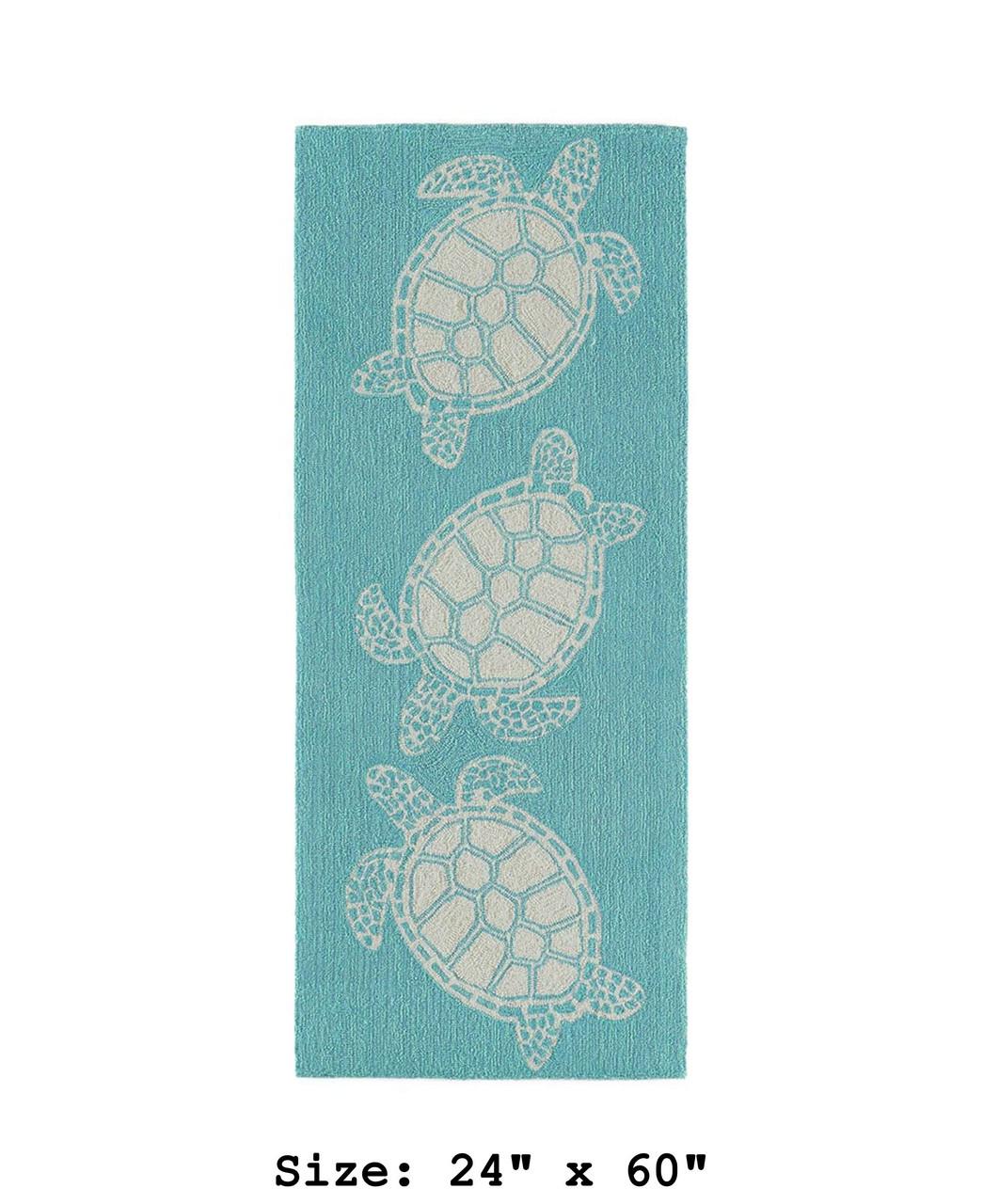 Capri Turtle Indoor/Outdoor Rug - Aqua - Small Runner Available in 6 Sizes