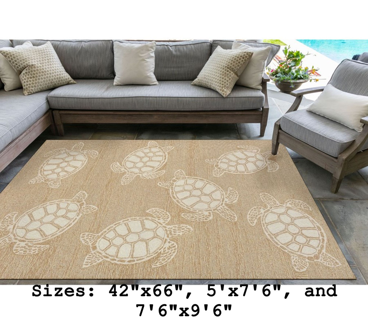 Capri Turtle Indoor/Outdoor Rug - Neutral - Large Rectangle Lifestyle