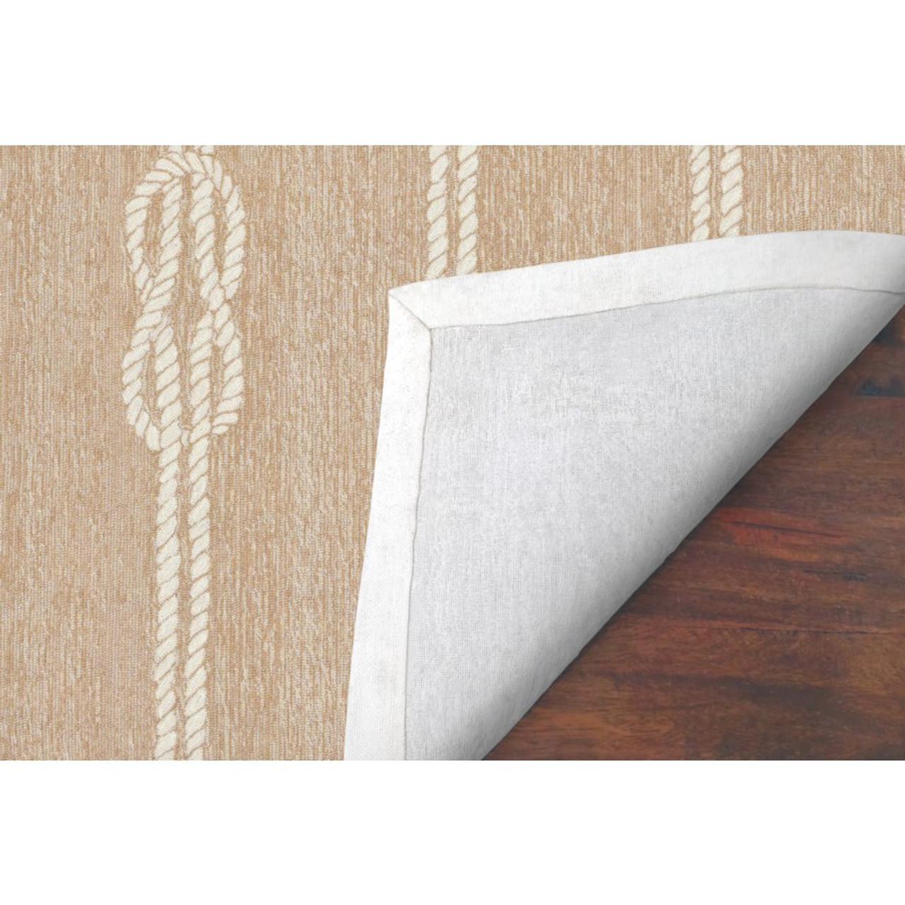 Neutral Capri Nautical Ropes Indoor/Outdoor Rug -  Backing