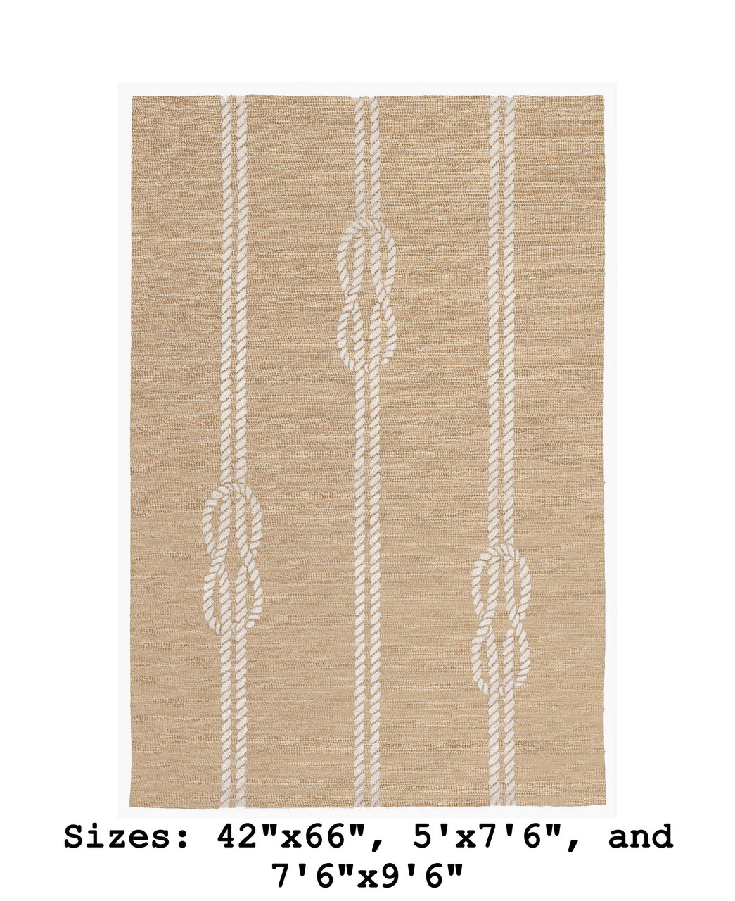 Neutral Capri Nautical Ropes Indoor/Outdoor Rug - Large Rectangle