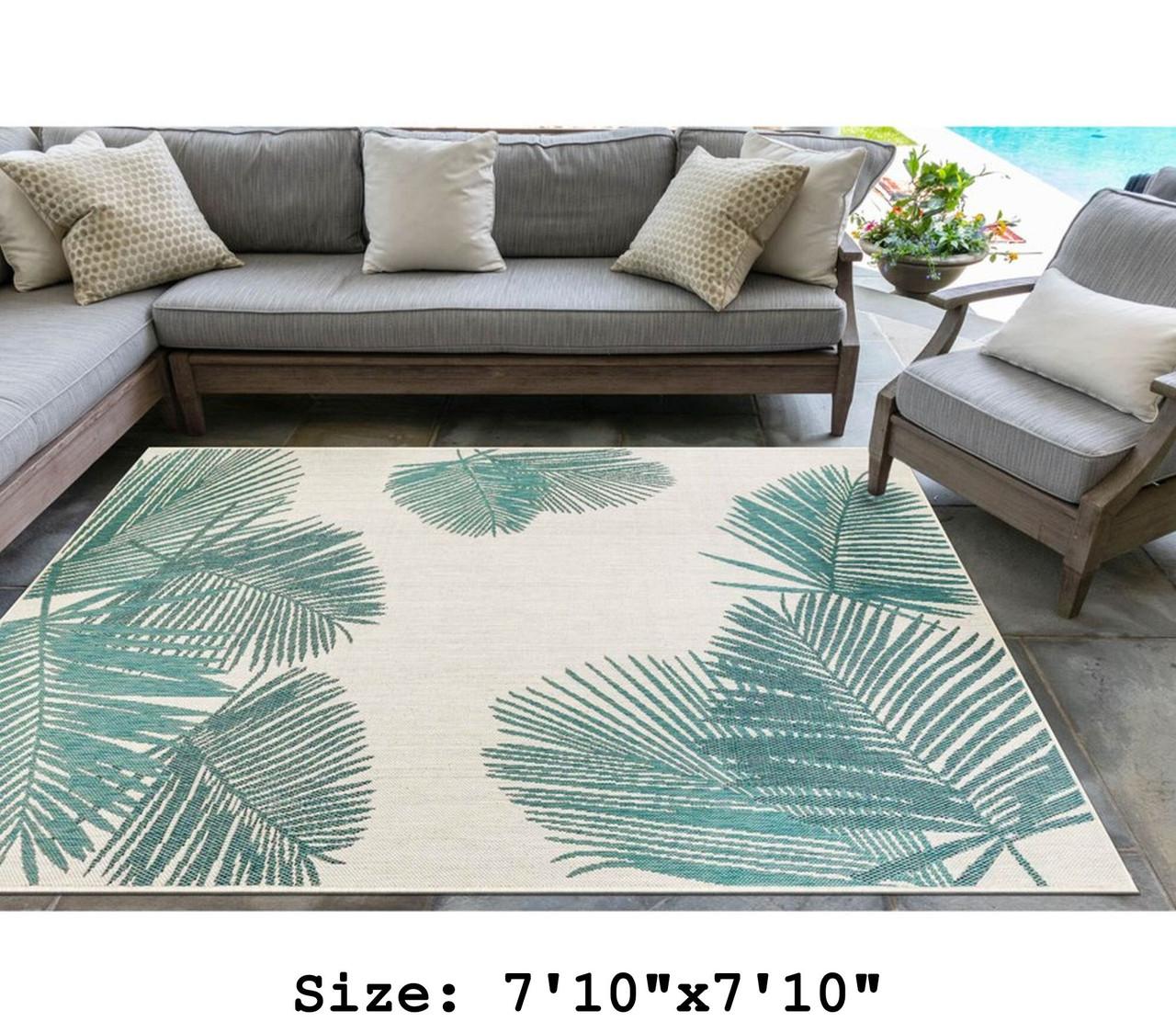 Aqua Carmel Palm Leaf Indoor/Outdoor Rug - Square