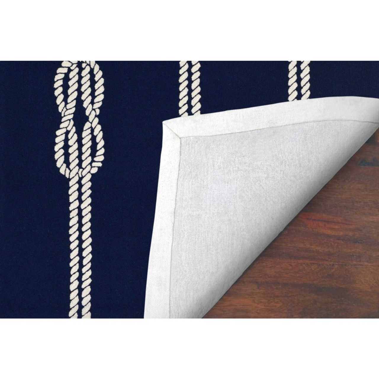 Navy Capri Nautical Ropes Indoor/Outdoor Rug - Backing