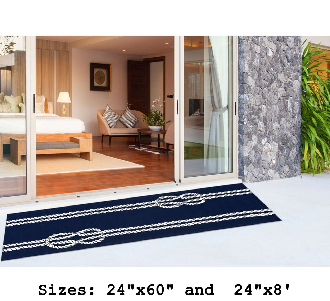 Navy Capri Nautical Ropes Indoor/Outdoor Rug - Runner Lifestyle