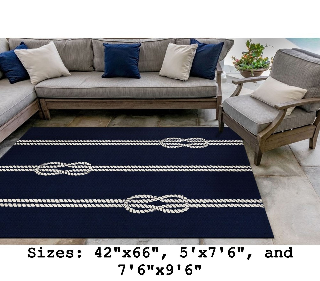 Navy Capri Nautical Ropes Indoor/Outdoor Rug -Large Rectangle Lifestyle