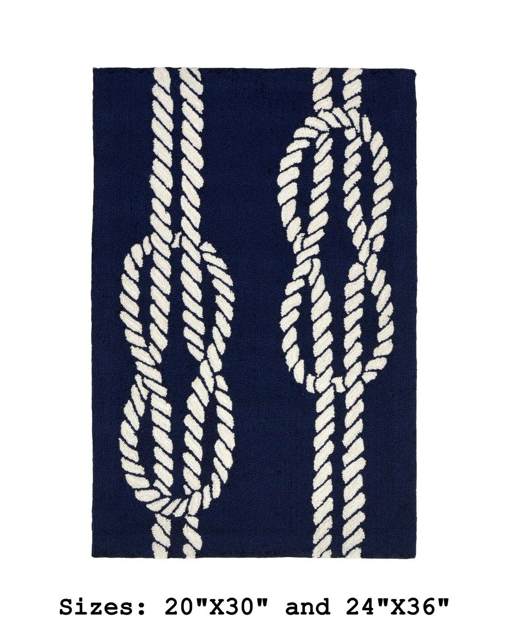 Navy Capri Nautical Ropes Indoor/Outdoor Rug - Small Rectangle