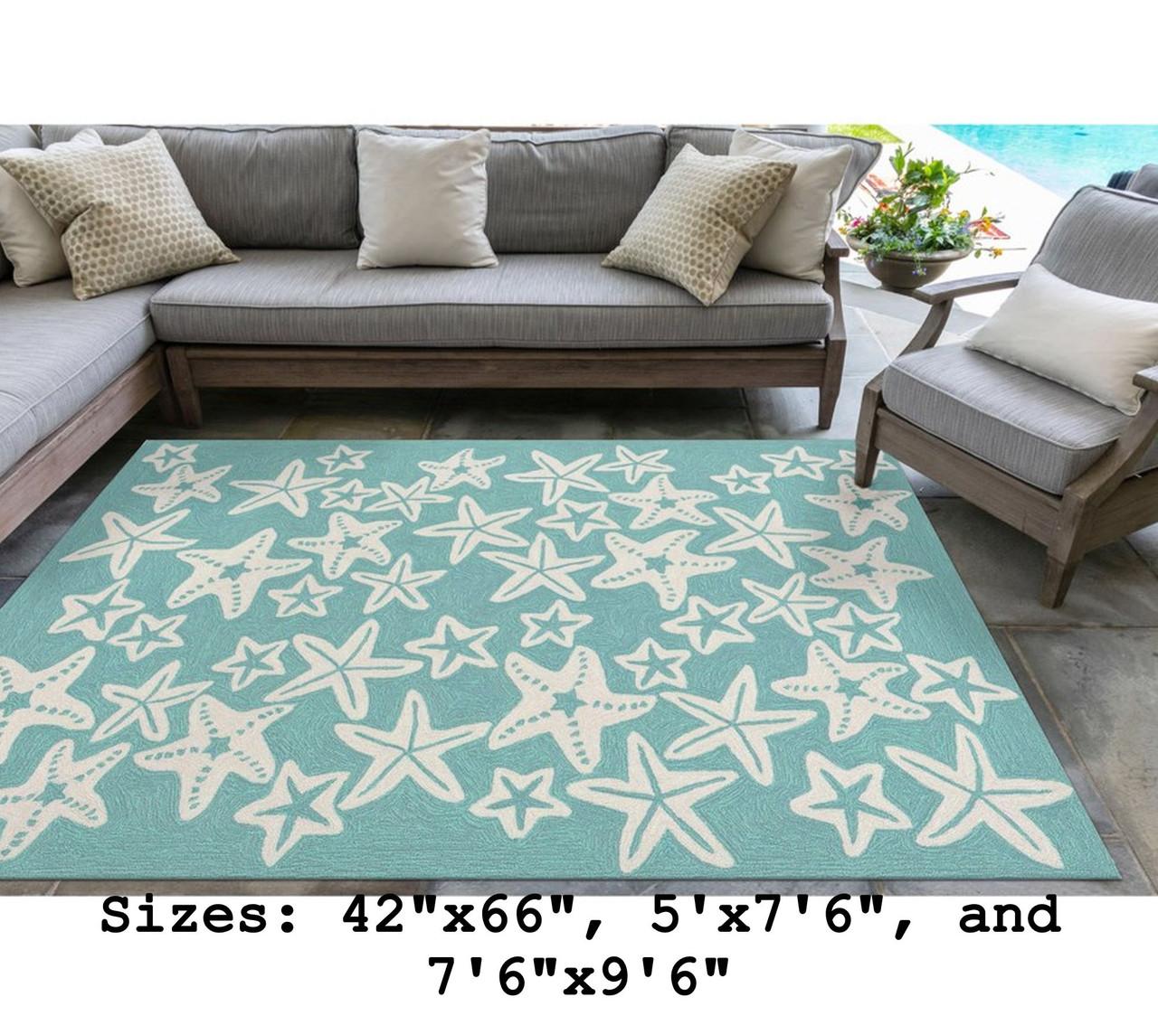 Aqua Capri Starfish Indoor/Outdoor Rug - Large Rectangle Lifestyle