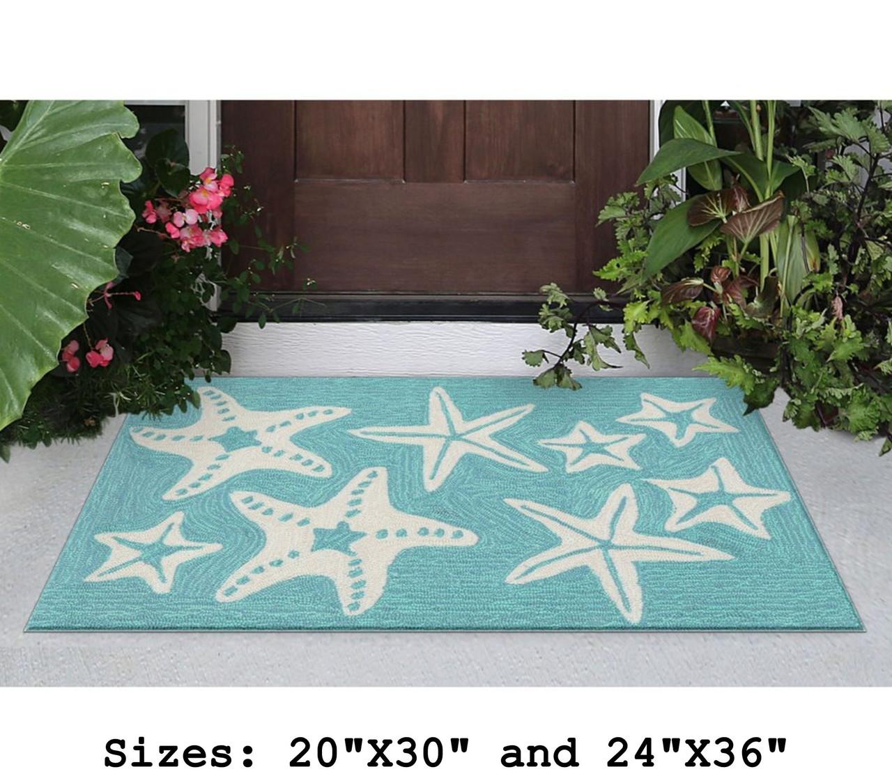 Aqua Capri Starfish Indoor/Outdoor Rug - Small Rectangle Lifestyle