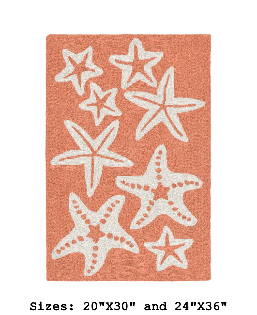 Coral Capri Starfish Indoor/Outdoor Rug - Small Rectangle