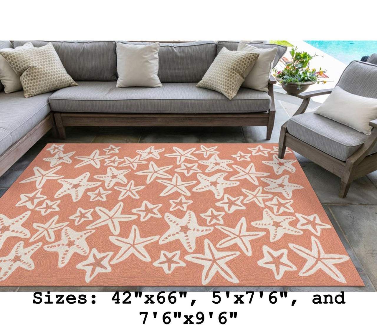 Coral Capri Starfish Indoor/Outdoor Rug - Large Rectangle Lifestyle