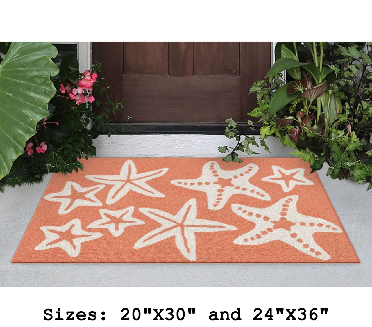 Coral Capri Starfish Indoor/Outdoor Rug - Small Rectangle Lifestyle