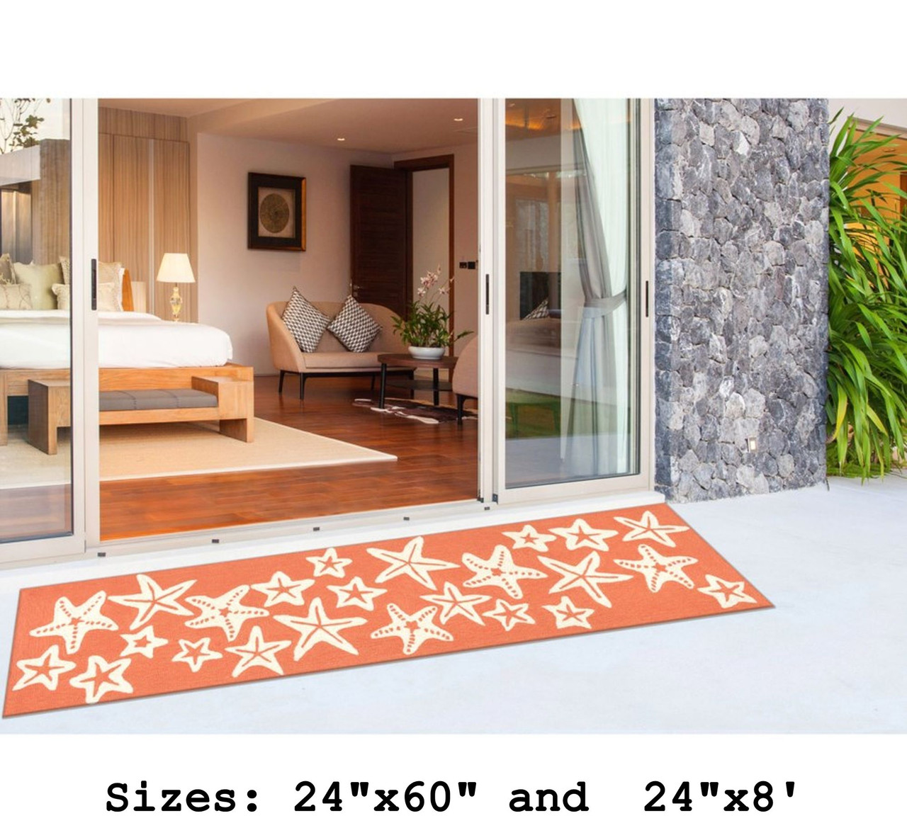 Coral Capri Starfish Indoor/Outdoor Rug -  Runner Lifestyle