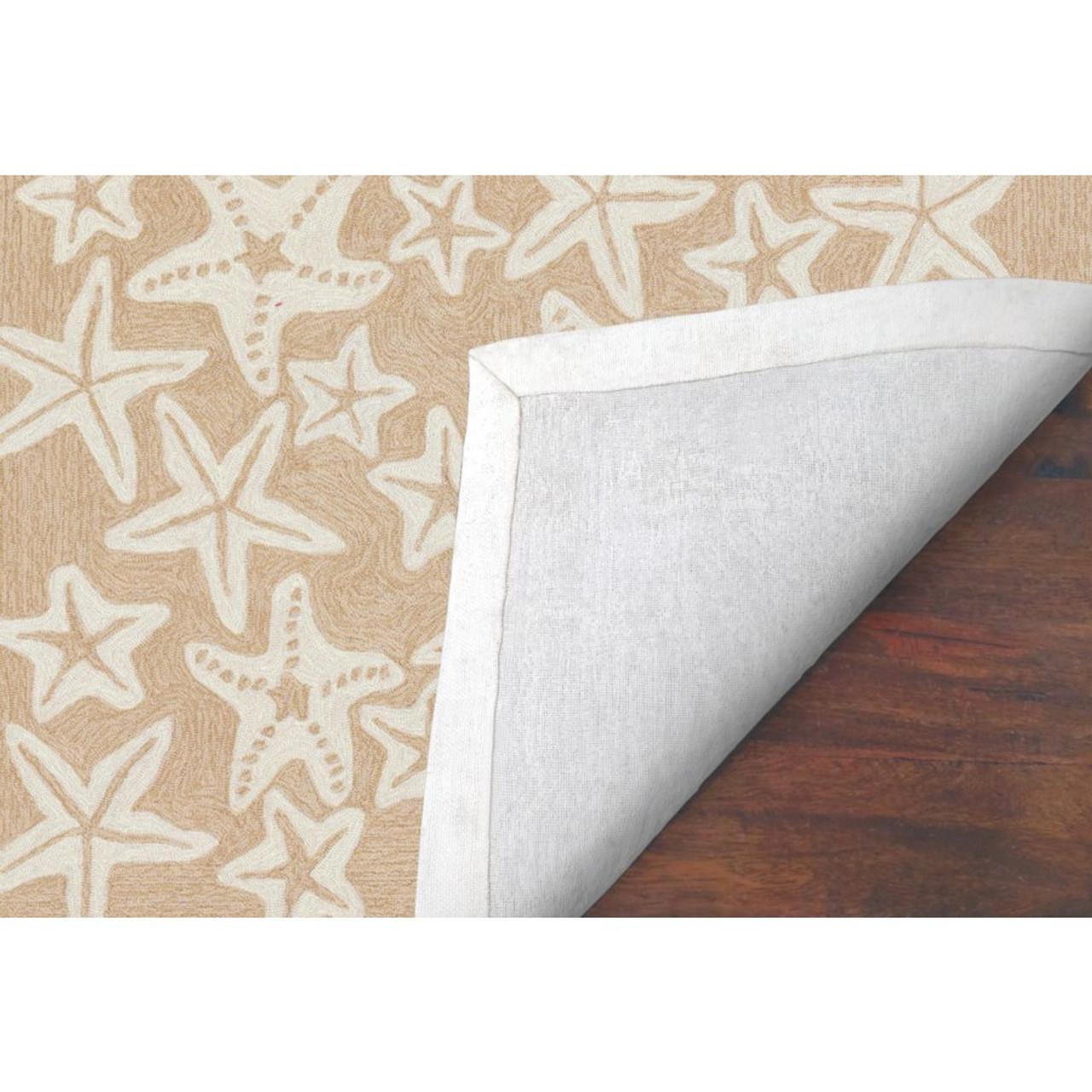 Neutral Capri Starfish Indoor/Outdoor Rug -  Skid Resistant Bottom