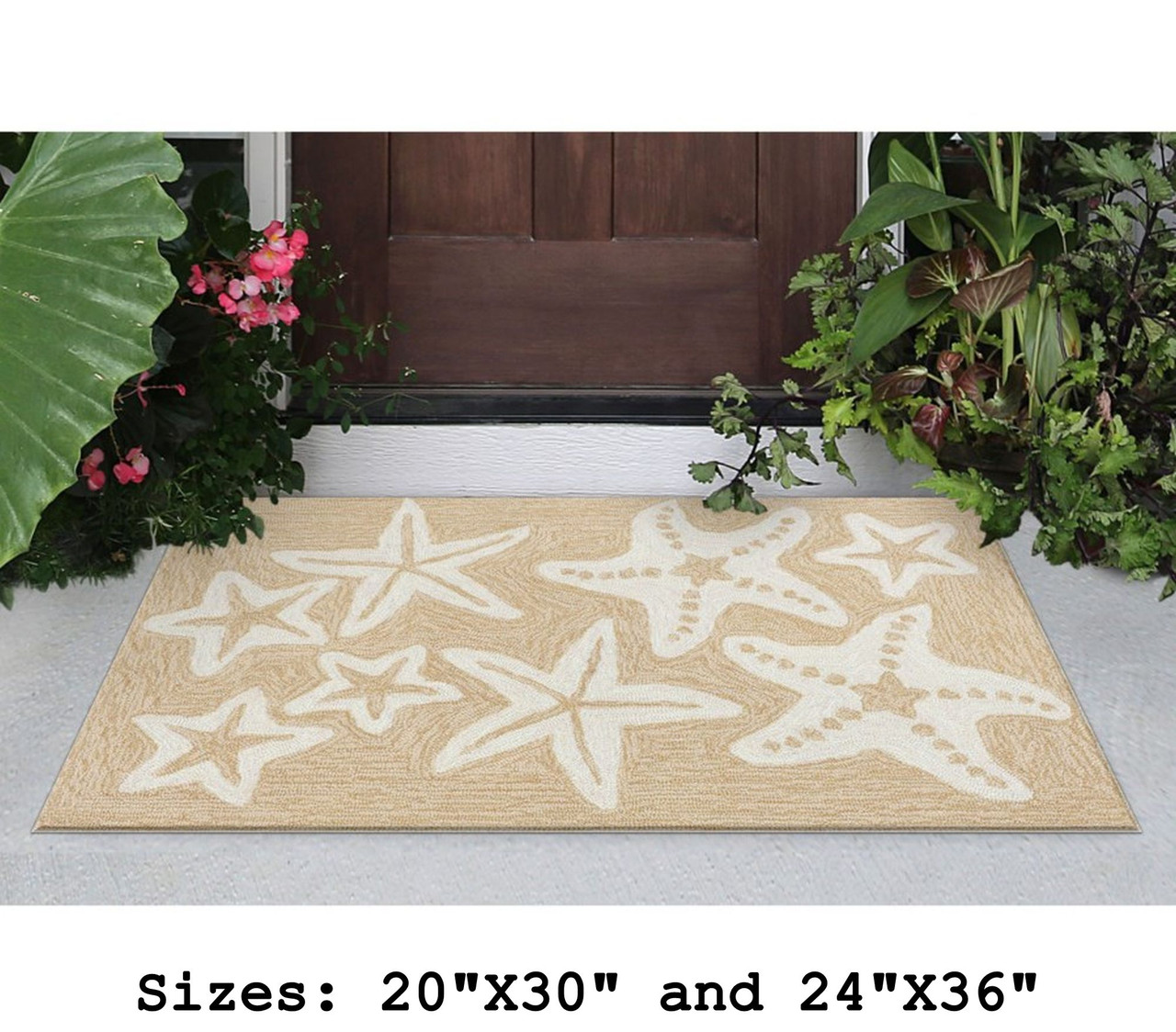 Neutral Capri Starfish Indoor/Outdoor Rug - Small Rectangle Lifestyle