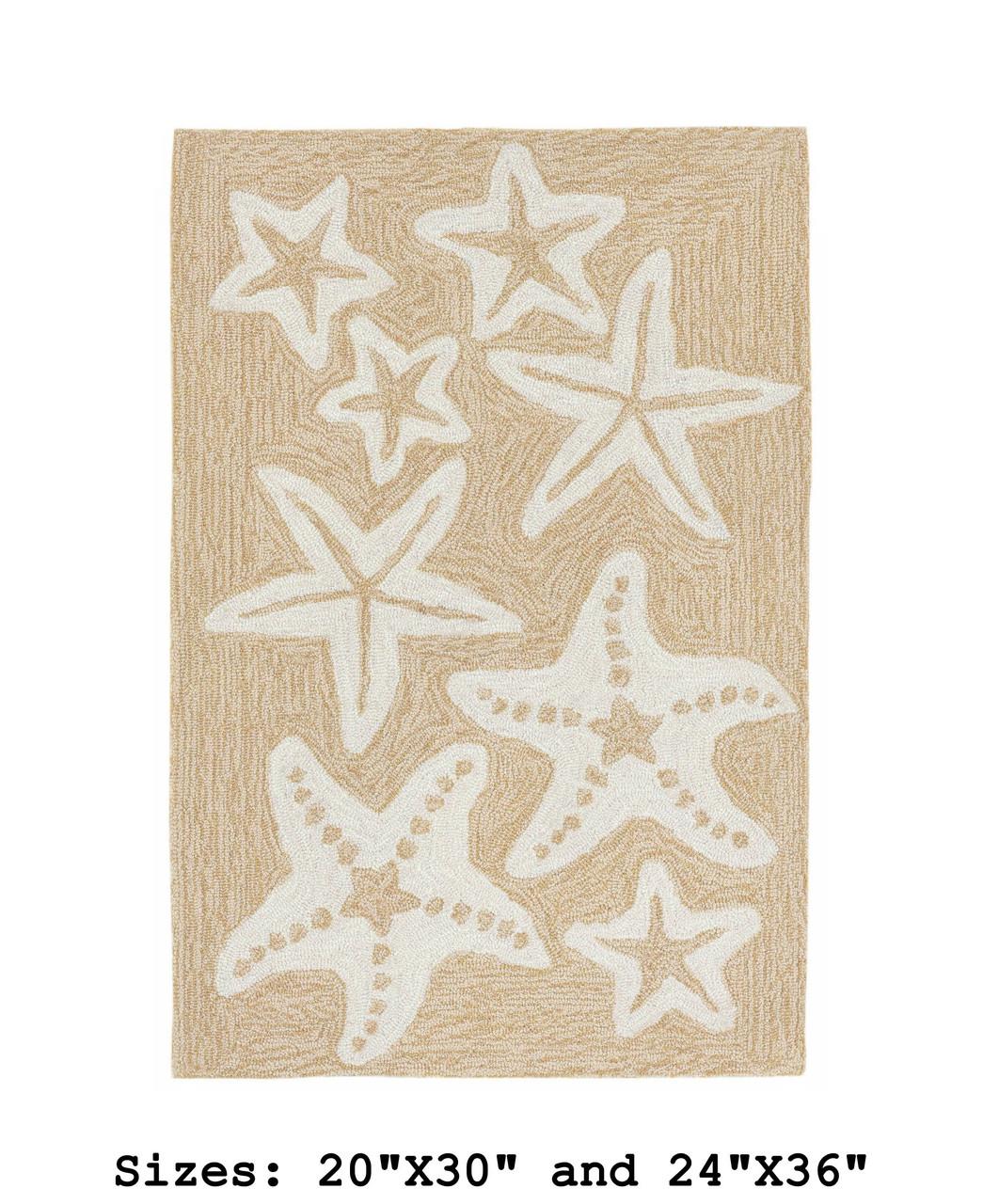 Neutral Capri Starfish Indoor/Outdoor Rug - Small Rectangle