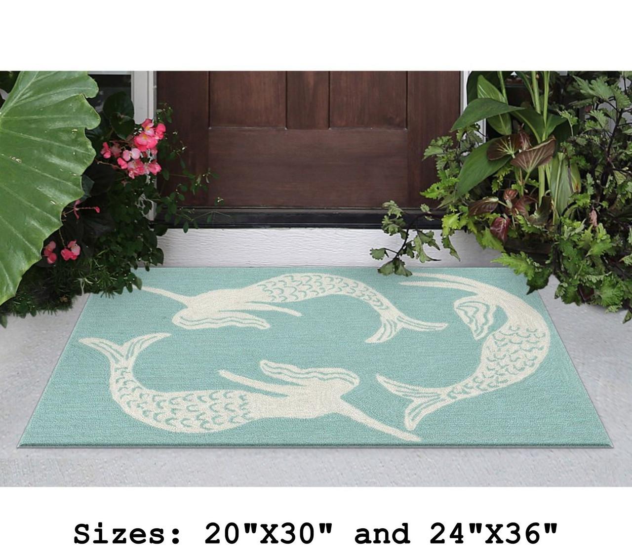 Aqua Capri Mermaids Indoor/Outdoor Rug -  Small Rectangle  Lifestyle