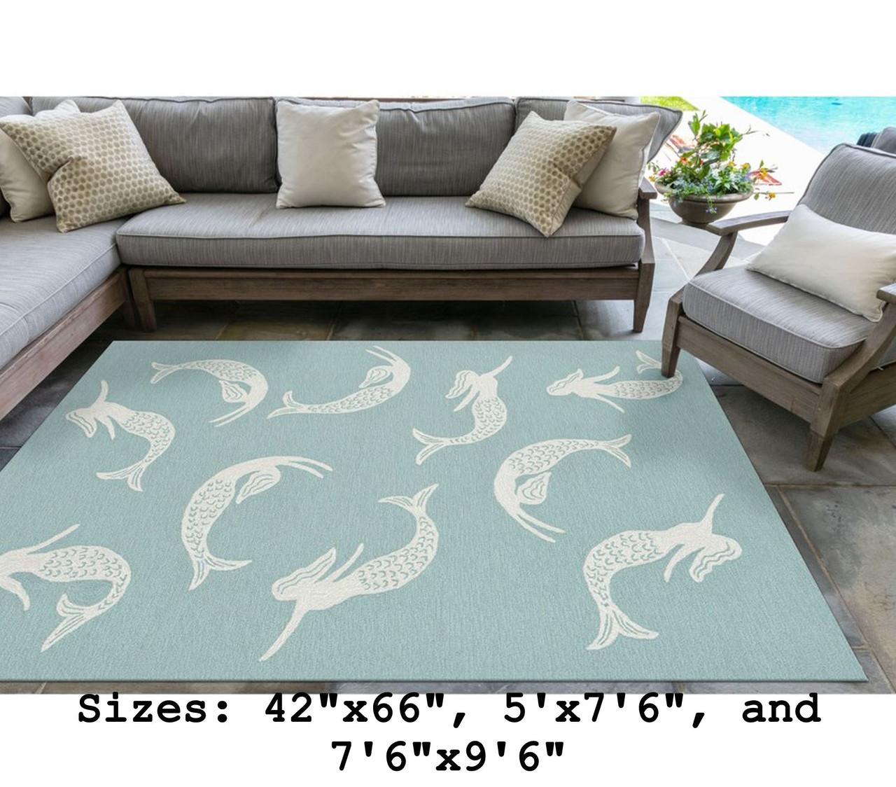 Aqua Capri Mermaids Indoor/Outdoor Rug -  Large Rectangle Indoor Lifestyle
