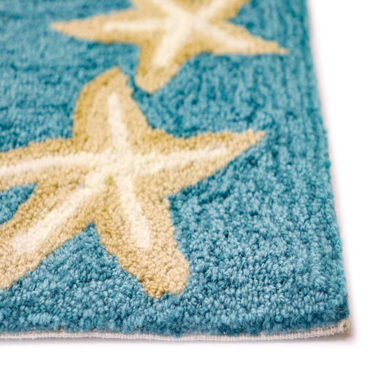 Aqua Capri Starfish Border Indoor/Outdoor Rug - Pile