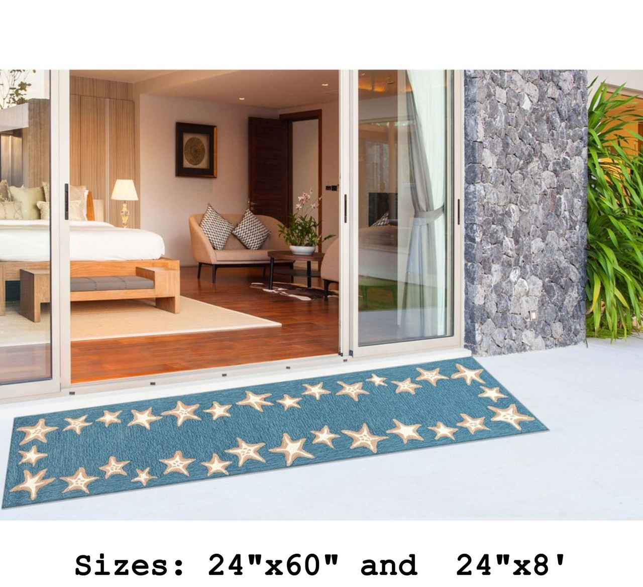 Aqua Capri Starfish Border Indoor/Outdoor Rug - Runner Lifestyle