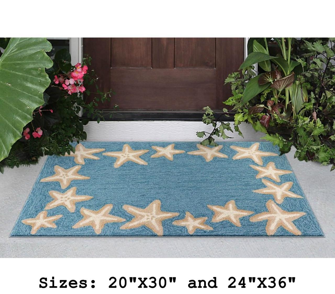 Aqua Capri Starfish Border Indoor/Outdoor Rug -  Small Rectangle Lifestyle