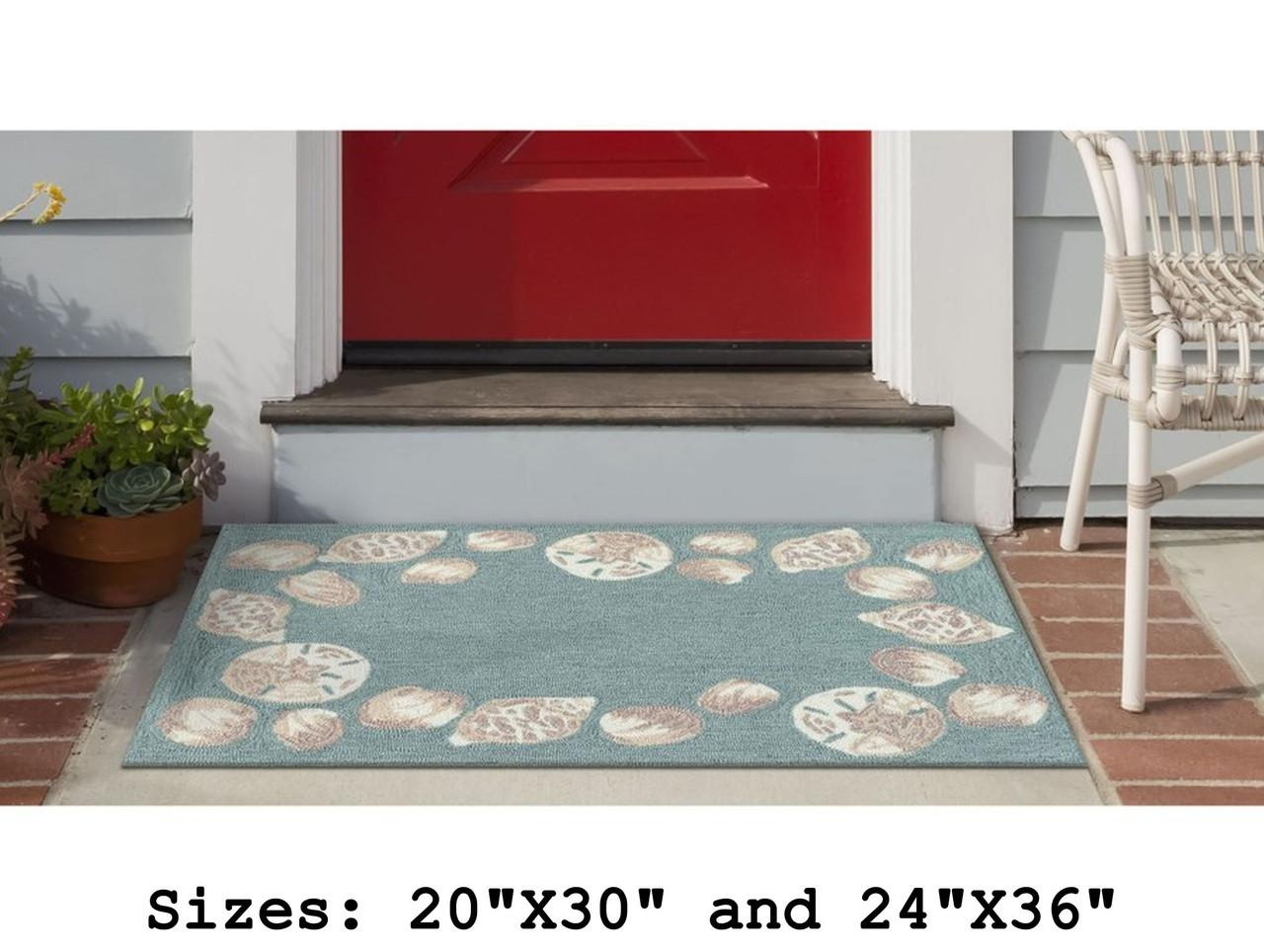 Aqua Capri Seashell Border Indoor/Outdoor Rug - Small Rectangle Lifestyle
