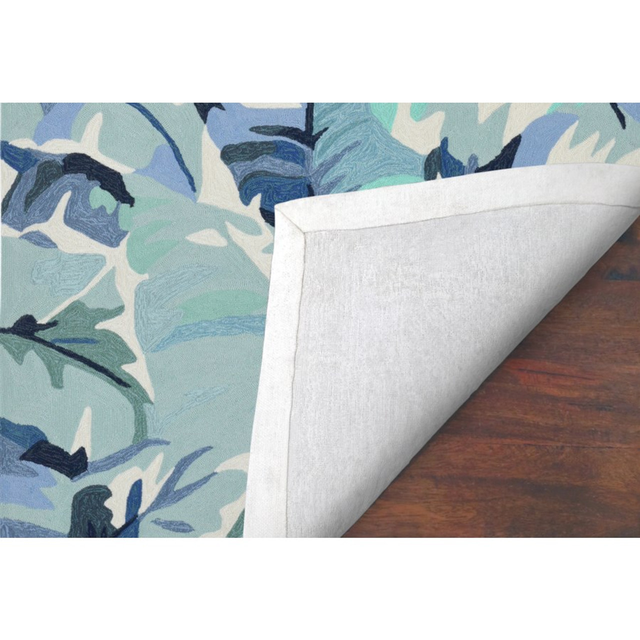 Blue Capri Palm Leaf Indoor/Outdoor Rug - Backing