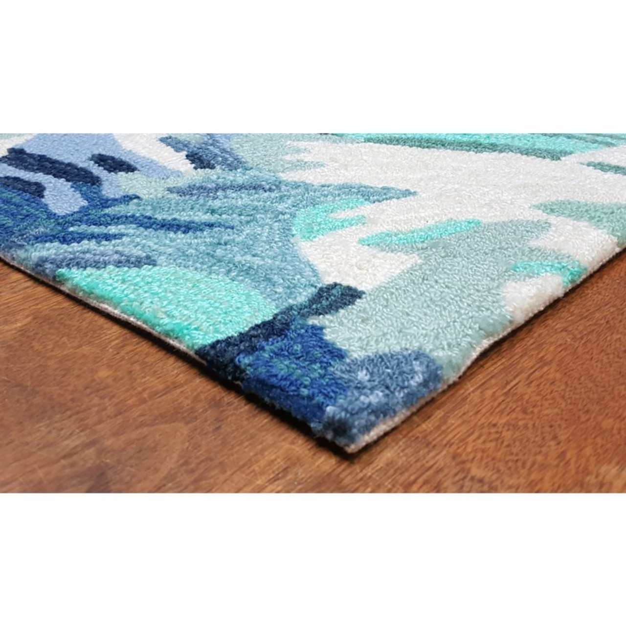 Blue Capri Palm Leaf Indoor/Outdoor Rug -  Pile