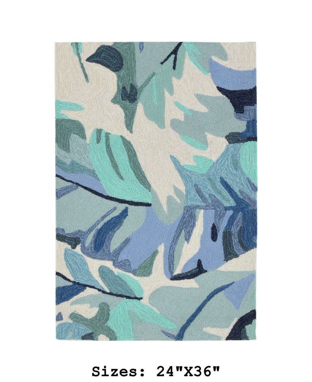 Blue Capri Palm Leaf Indoor/Outdoor Rug - Small Rectangle