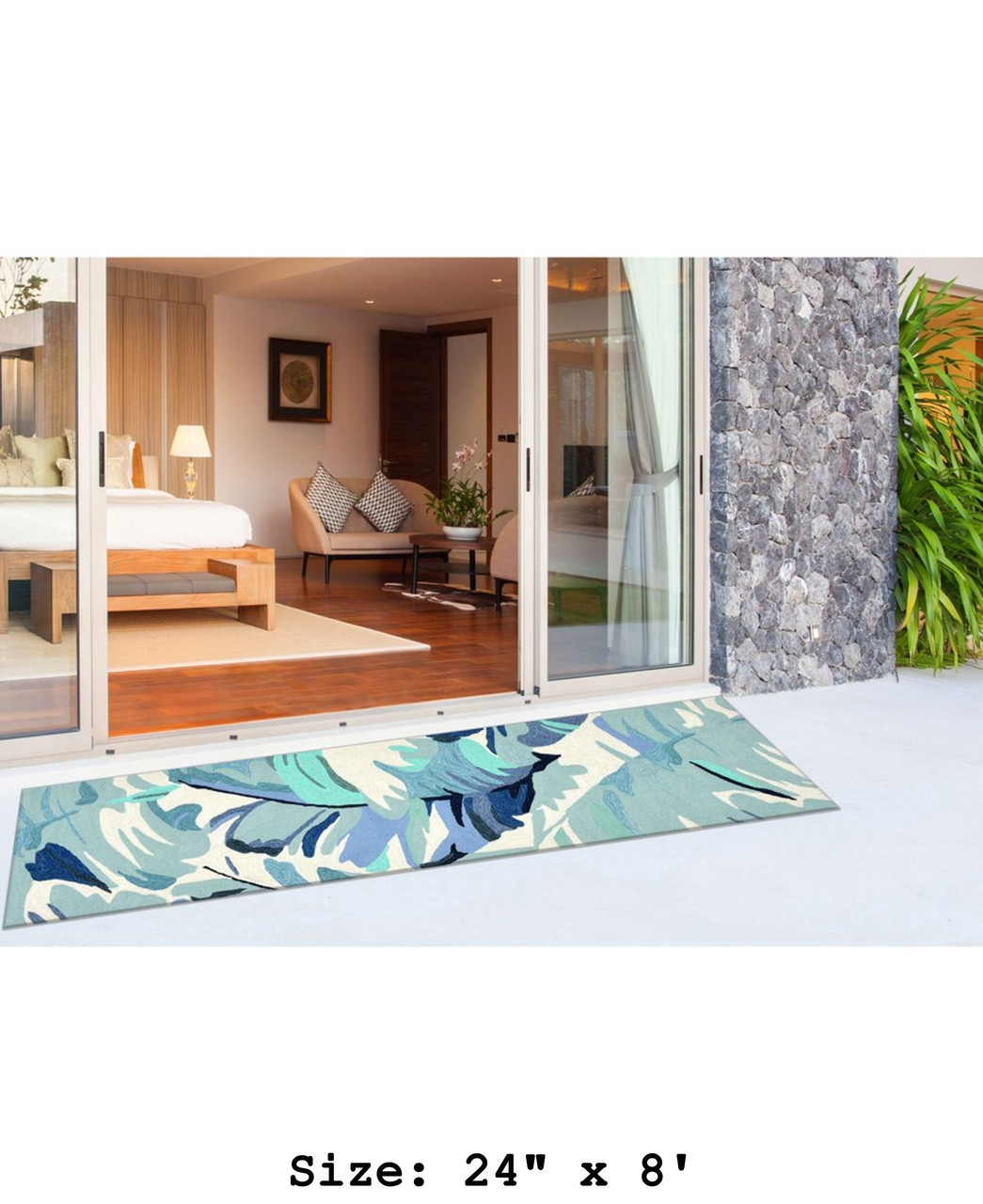 Blue Capri Palm Leaf Indoor/Outdoor Rug - Runner Lifestyle