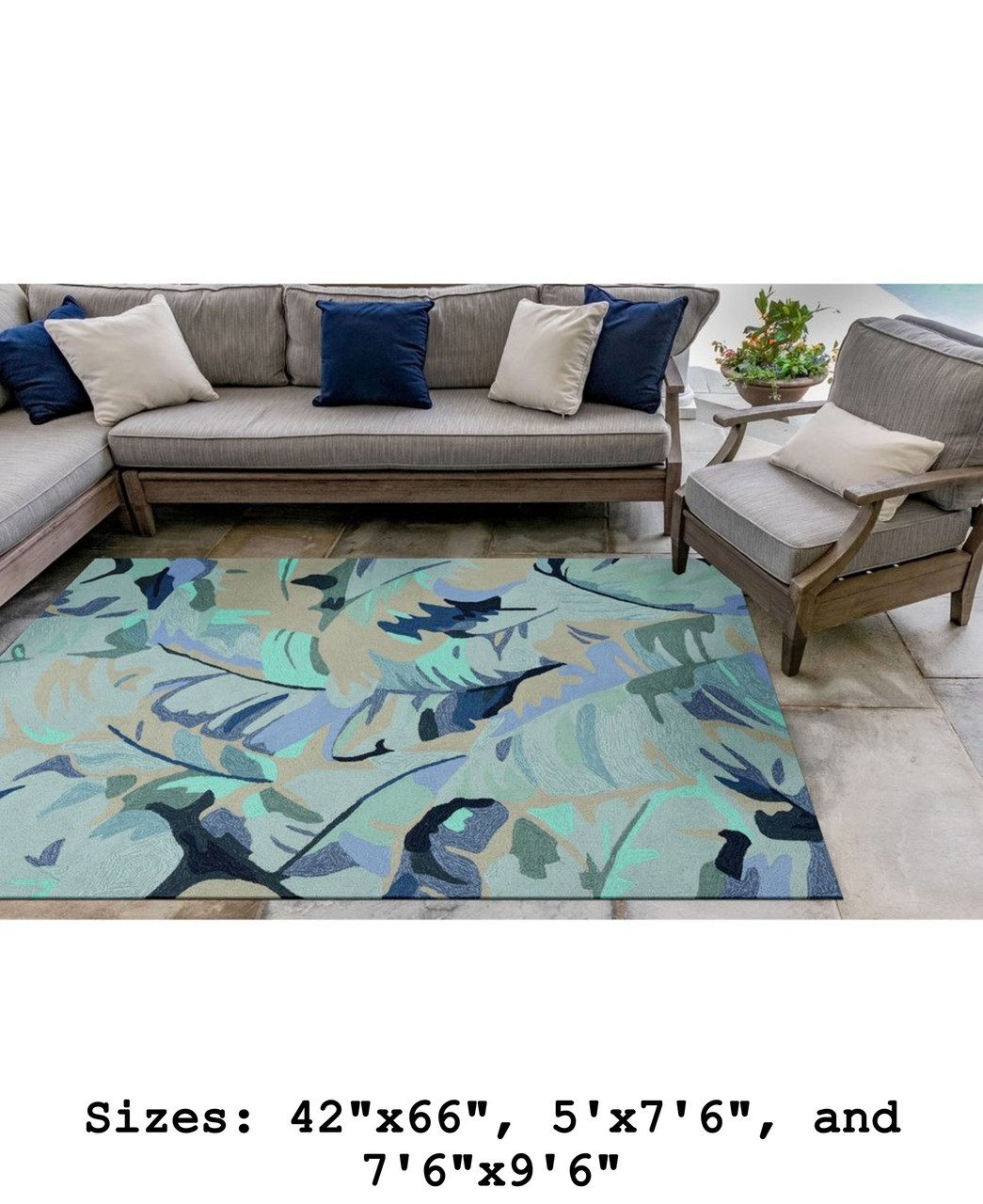 Blue Capri Palm Leaf Indoor/Outdoor Rug - Large Rectangle Lifestyle