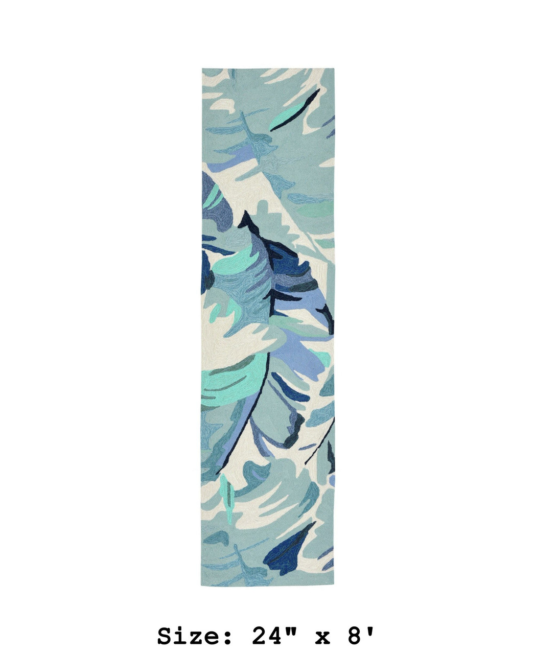 Blue Capri Palm Leaf Indoor/Outdoor Rug - Runner