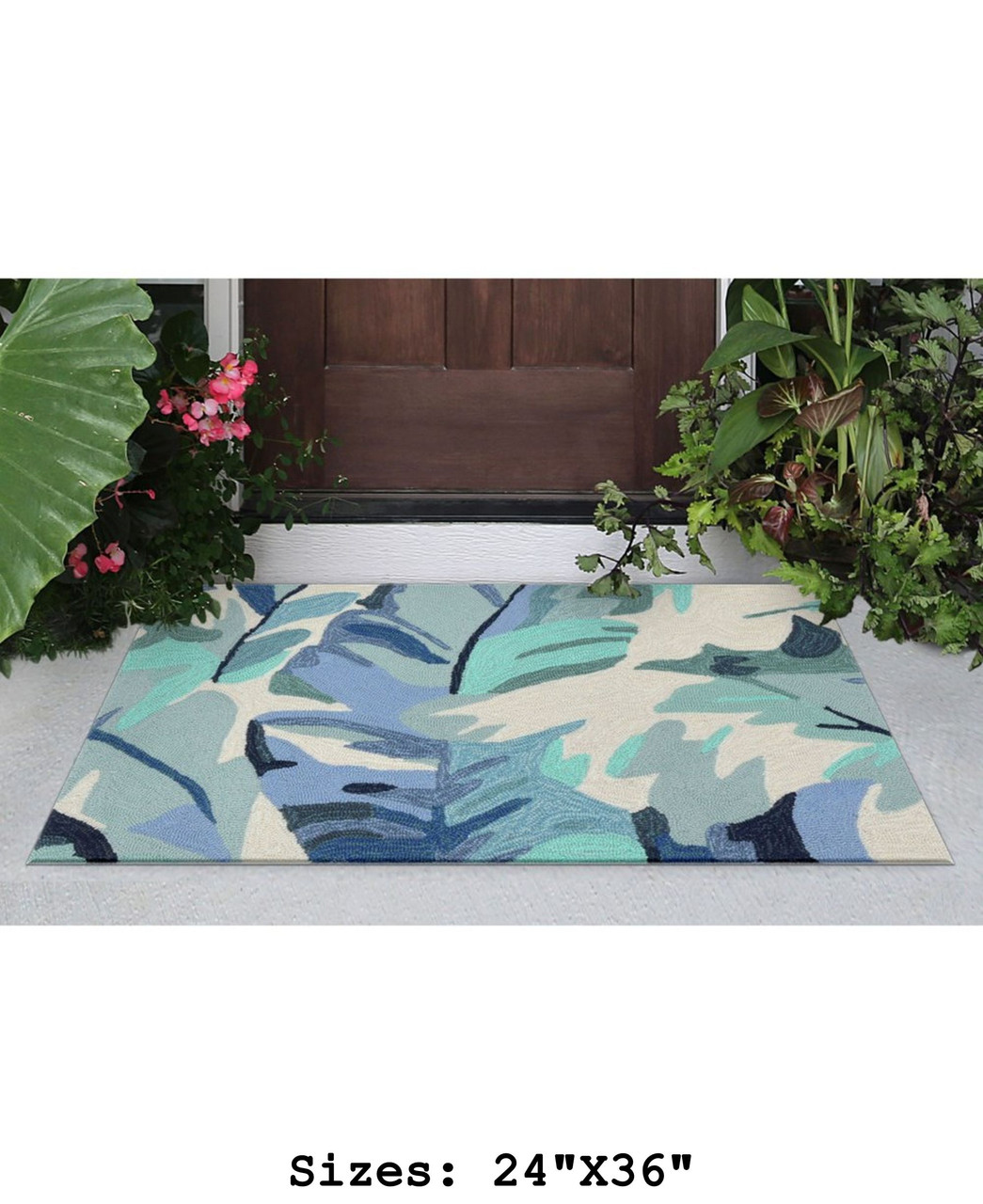 Blue Capri Palm Leaf Indoor/Outdoor Rug - Small Rectangle Lifestyle