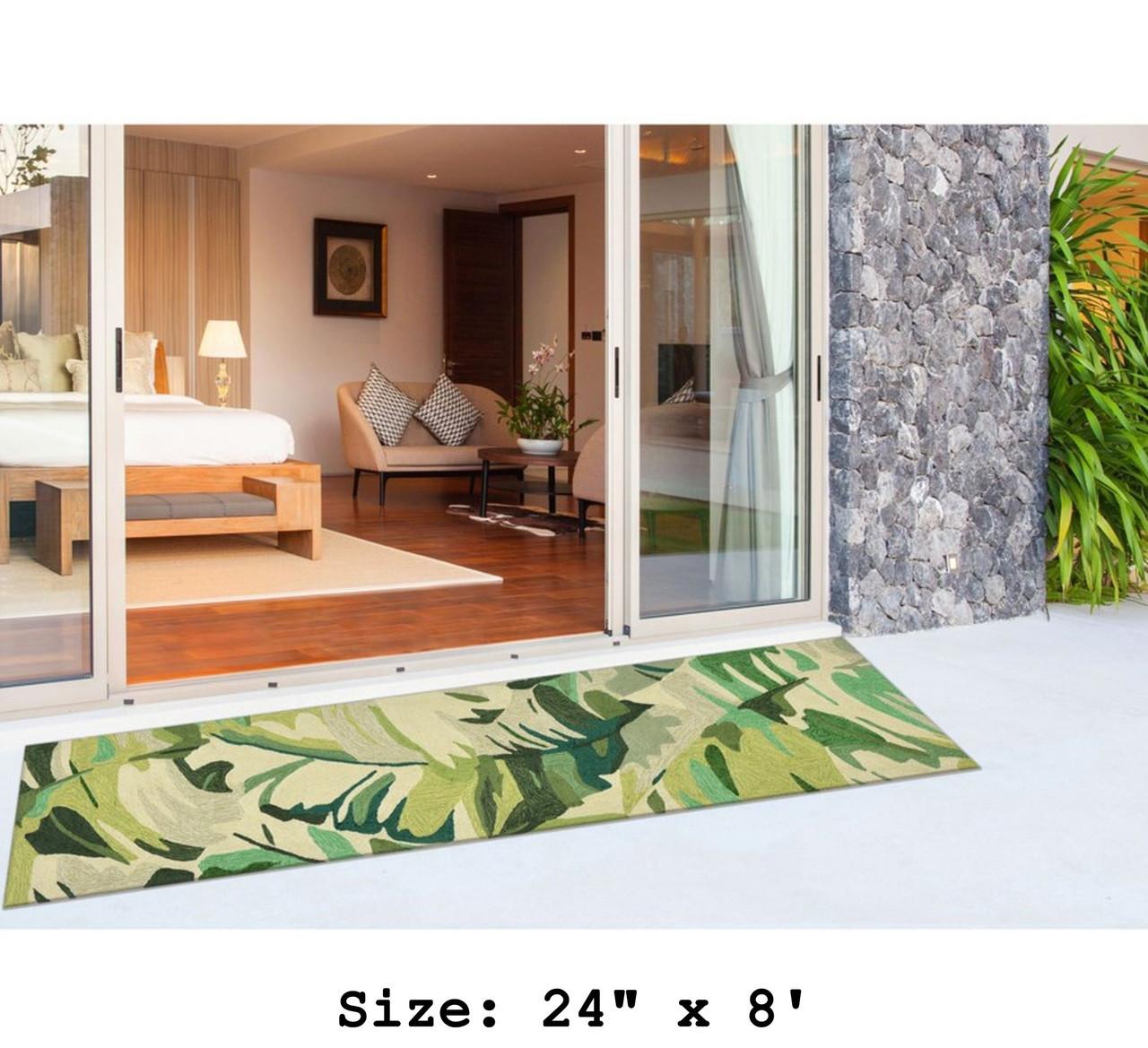 Green Capri Palm Leaf Indoor/Outdoor Rug - Runner Lifestyle