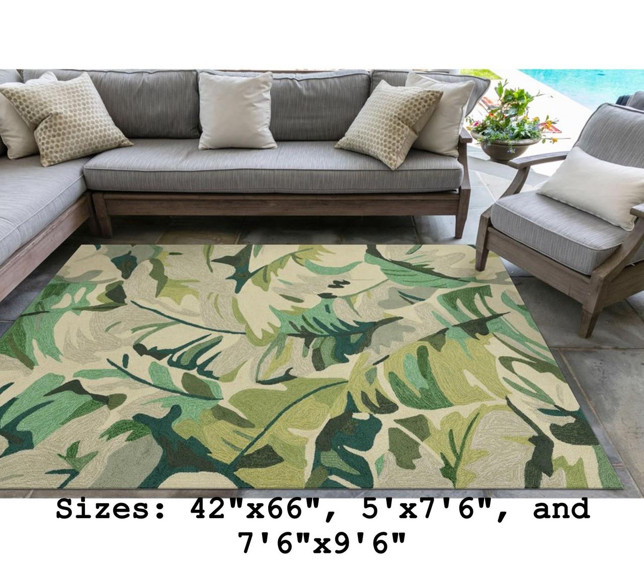 Green Capri Palm Leaf Indoor/Outdoor Rug - Large Rectangle Lifestyle