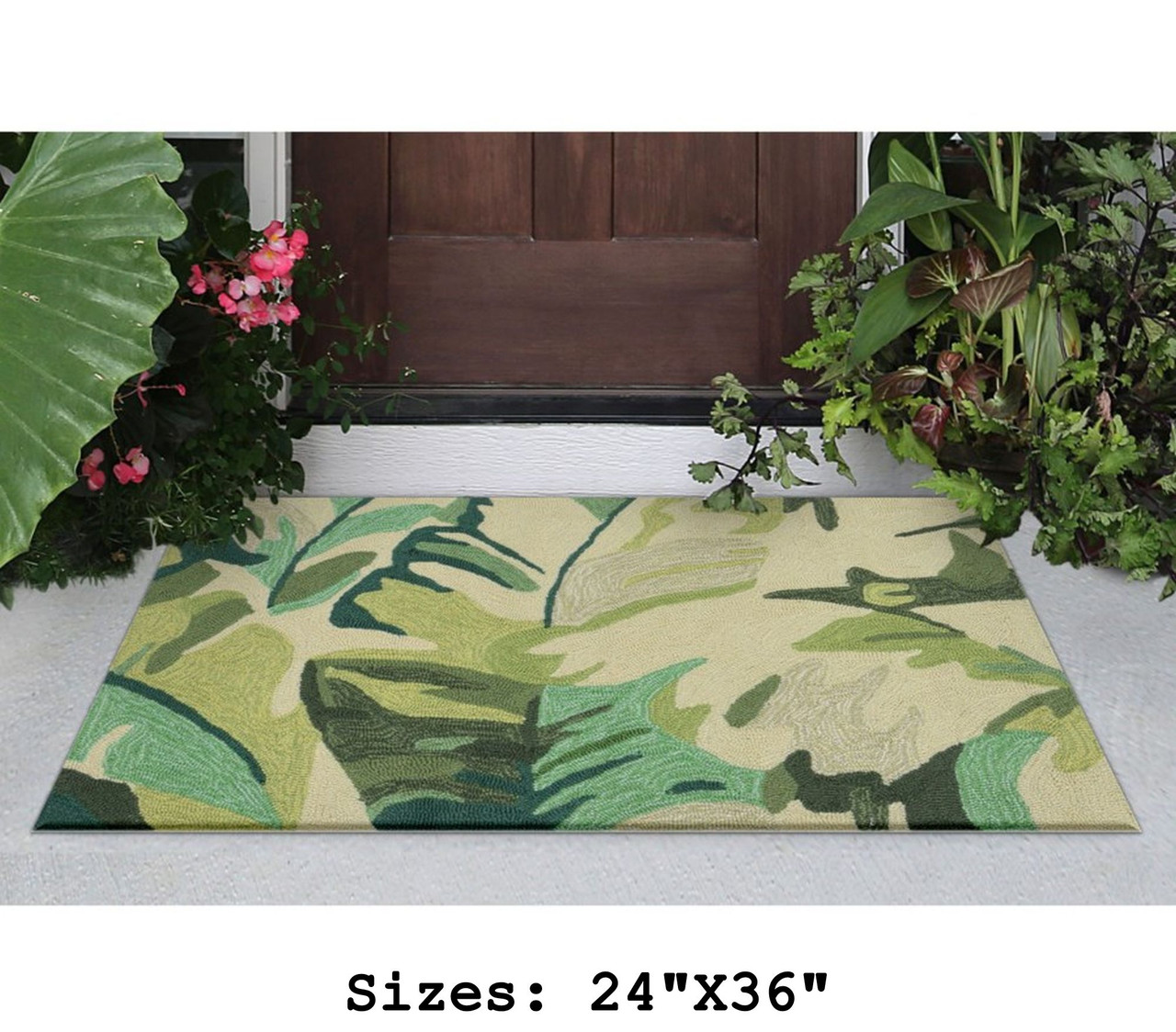 Green Capri Palm Leaf Indoor/Outdoor Rug - Small Rectangle Lifestyle