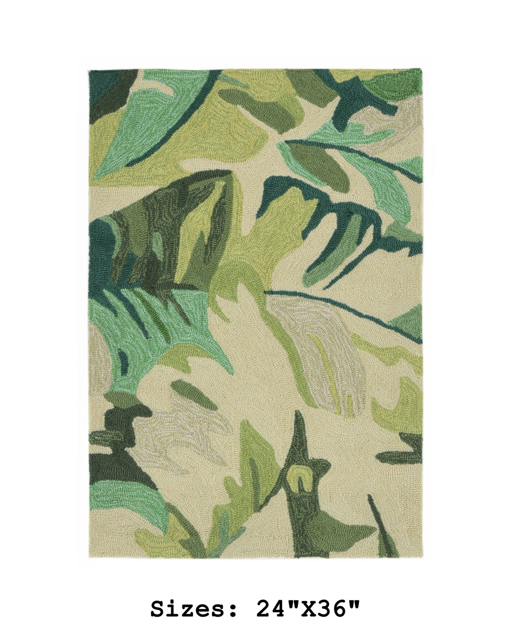 Green Capri Palm Leaf Indoor/Outdoor Rug -  Small Rectangle