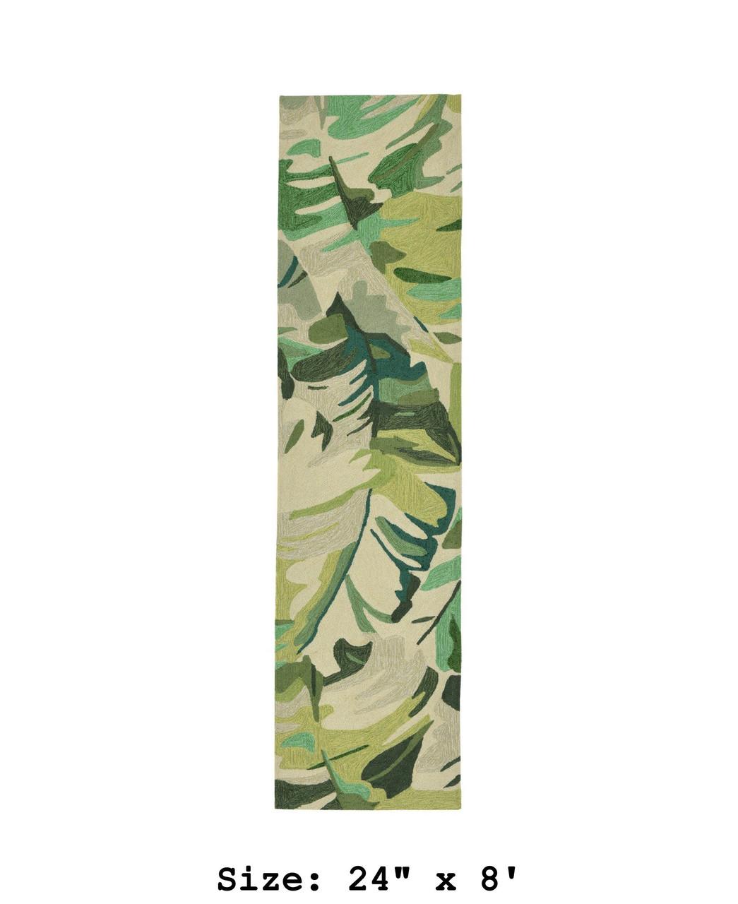 Green Capri Palm Leaf Indoor/Outdoor Rug - Runner