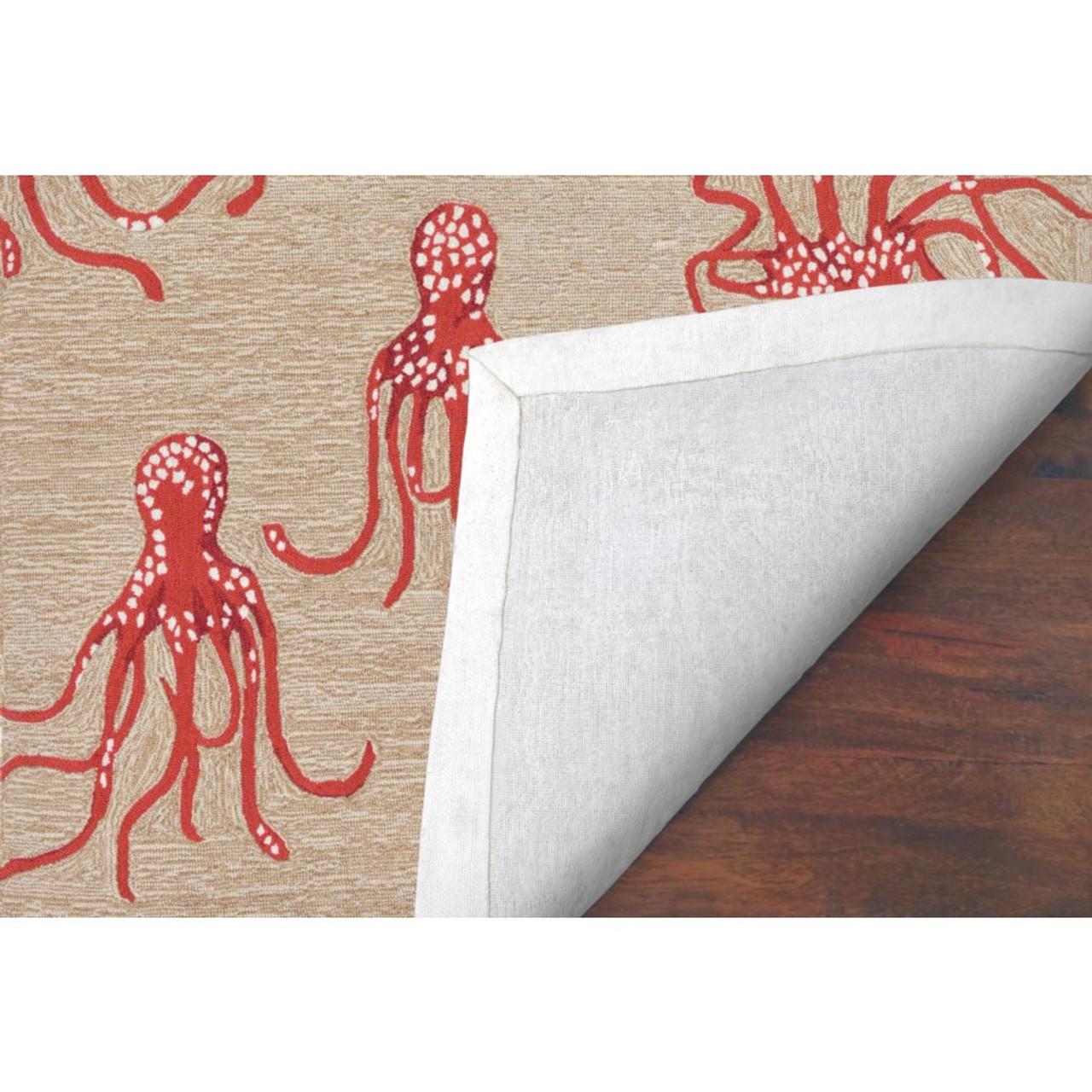 Coral Capri Octopus Indoor/Outdoor Rug - Backing