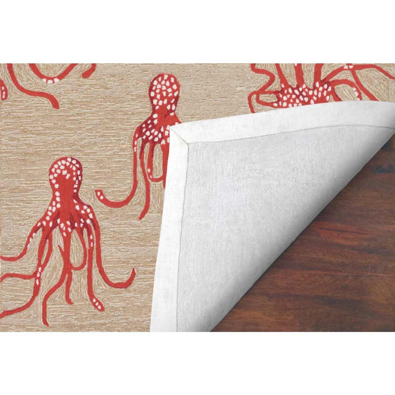 Coral Capri Octopus Indoor/Outdoor Rug - Backing