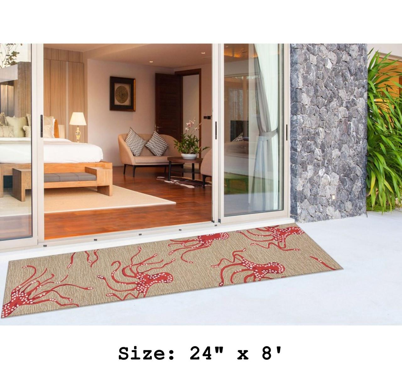 Coral Capri Octopus Indoor/Outdoor Rug - Runner Lifestyle